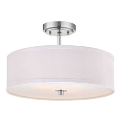 Chrome Semi-Flush Ceiling Light with White Drum Shade - 16-Inches Wide
