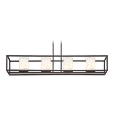 4-Light Mosaic Glass Linear Chandelier in Bronze