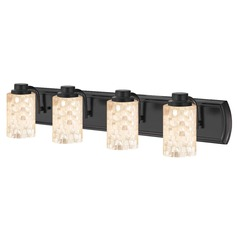 4-Light Mosaic Glass Vanity Light in Bronze
