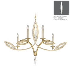Fine Art Lamps Marquise Florentine Brushed Gold Leaf Crystal Chandelier
