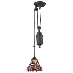 Elk Lighting Tiffany Pulldown Tiffany Bronze Mini-Pendant Light with Bowl / Dome Shade