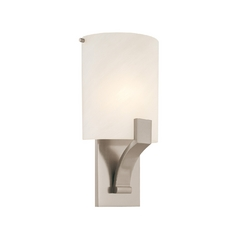 Sconce Wall Light with Alabaster Glass in Satin Nickel Finish