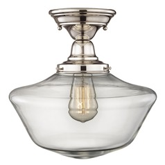 Design Classics Elliott Fitter with Powellhurst Glass Polished Nickel Semi-Flushmount Light