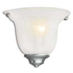 Traditional Sconce with Alabaster Glass and Satin Nickel Finish