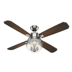 Seeded Glass LED Ceiling Fan with Light Polished Nickel Hunter Fan Company