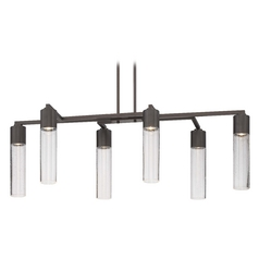 Modern Seeded Glass Linear Chandelier Bronze 6Lt by George Kovacs