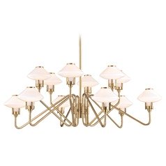 Mid-Century Modern LED Chandelier Brass Knowles by Hudson Valley Lighting