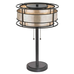 Bronze Table Lamp with Mica Shade