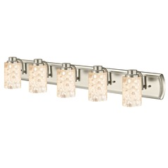 5-Light Mosaic Glass Vanity Light in Satin Nickel