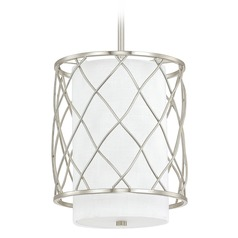 Capital Lighting Sawyer Brushed Nickel Mini-Pendant Light with Cylindrical Shade