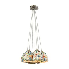 Elk Lighting Gemstone Satin Nickel Multi-Light Pendant with Bowl / Dome Shade