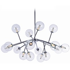 Satellite LED Polished Chrome LED Pendant Light with Globe Shade