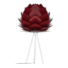UMAGE White Table Lamp with Ruby Metal Shade