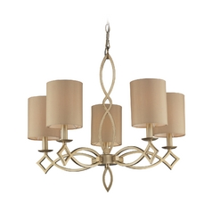 Modern Chandelier with Beige / Cream Shades in Aged Silver Finish