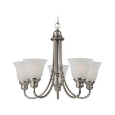 Sea Gull Lighting 5-Light Mini Chandelier with Alabaster Glass in Brushed Nickel