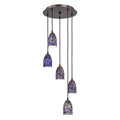 Design Classics Lighting Modern Multi-Light Pendant Light with Blue Glass and 5-Lights 580-220 GL1009D