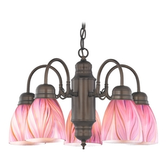 Mini-Chandelier with Pink Art Glass in Bronze Finish