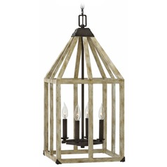 Wood Caged Pendant Light