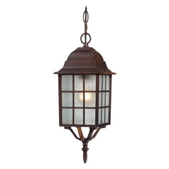 Outdoor Hanging Light with White Glass in Rustic Bronze Finish