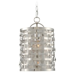 Kalco Lighting Bridgeport Brushed Stainless Steel Mini-Pendant Light with Cylindrical Shade
