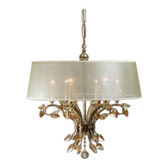 Uttermost 6-Light Chandelier with Beige/Cream Shade in Burnished Gold