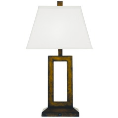 Contemporary Table Lamp with Rectangular Cutout and Shade