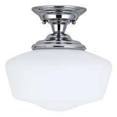 Schoolhouse Semi-Flushmount Light with White Glass in Chrome Finish