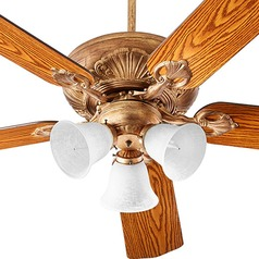 Quorum Lighting Chateaux Uni-Pack Vintage Gold Leaf Ceiling Fan with Light