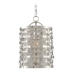 Kalco Lighting Bridgeport Brushed Stainless Steel Pendant Light with Cylindrical Shade