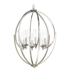 Transitional Chandelier Polished Nickel With Silver Accent Evoke by Progress Lighting