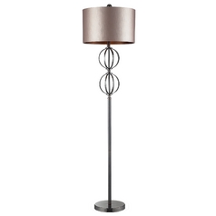 Modern Floor Lamp with Beige / Cream Shade in Coffee Plating Finish