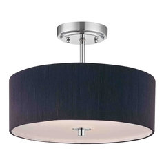 Design Classics Lighting Chrome Drum Ceiling Light with Black Shade - 14-Inches Wide DCL 6543-26 SH7561 KIT