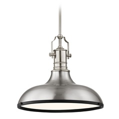 Farmhouse Pendant Light Satin Nickel and Black 15.63-Inch Wide