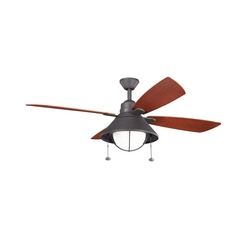Kichler Lighting Kichler Lighting Seaside Distressed Black Ceiling Fan with Light 310131DBK