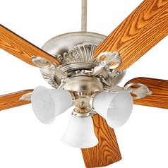 Quorum Lighting Chateaux Uni-Pack Aged Silver Leaf Ceiling Fan with Light