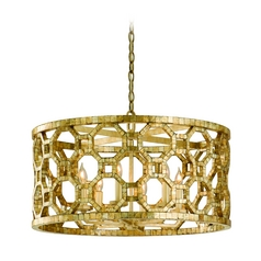 Modern Drum Pendant Light with Cage Shade in Stained Silver Finish