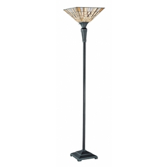 Modern Torchiere Lamp with Multi-Color Glass in Dark Bronze Finish