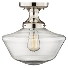 Schoolhouse  Semi-Flush Ceiling Light Polished Nickel and Clear Glass