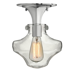 Semi-Flushmount Light with Clear Glass in Chrome Finish
