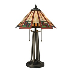 Dimond Carris Tiffany Bronze Table Lamp with Conical Shade
