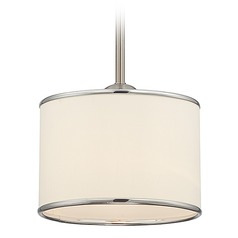 Savoy House Satin Nickel Mini-Pendant Light with Drum Shade