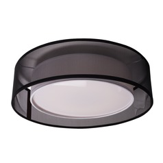 Modern Black LED Flushmount Light with White Inner Shade 3000K 1262LM