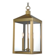 Livex Lighting Nyack Antique Brass Outdoor Hanging Light