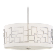 Modern Drum Pendant Light with White Glass in Brushed Nickel Finish