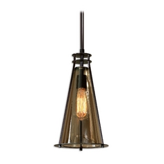 Mini-Pendant Light with Brown Glass
