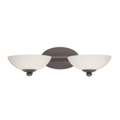 Two-Light Sconce with White Shades
