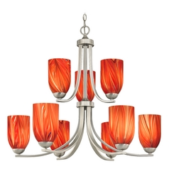 Modern Chandelier with Red Glass in Satin Nickel Finish