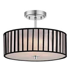 Design Classics Lighting Chrome Semi-Flush Ceiling Light with Drum Shade -14-Inches Wide DCL 6543-26 SH9468