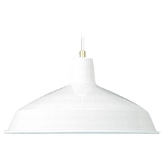 Quorum Lighting White Pendant Light with Bowl / Dome Shade