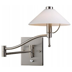 Modern Swing Arm Lamp with White Glass Shade in Satin Nickel Finish